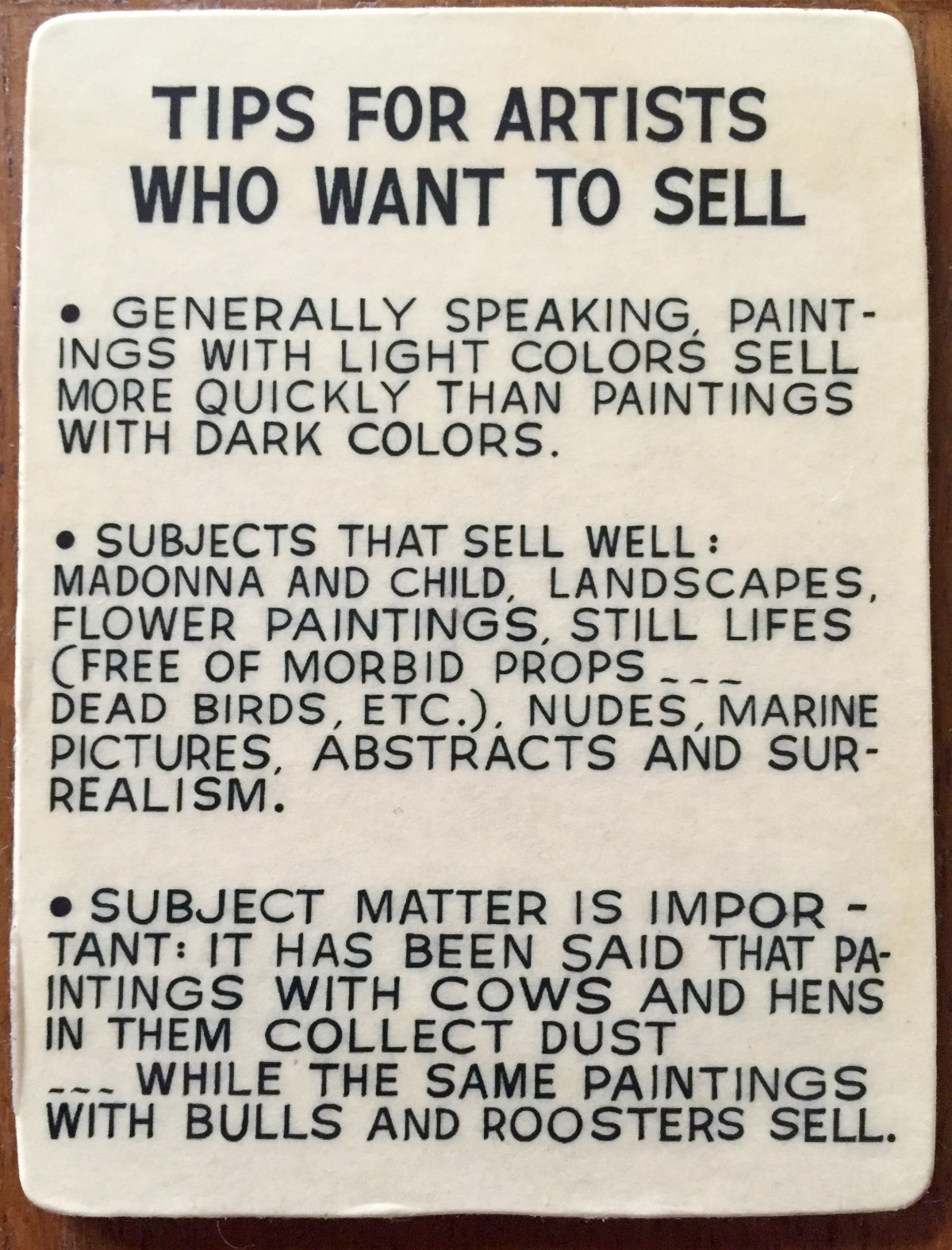 Tips for artists who want to sell– John Baldessari